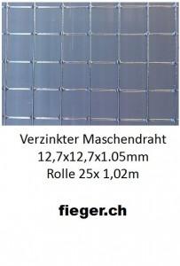 Volierendraht 12,7x12,7x1,05mm  (1,02m x 25m)