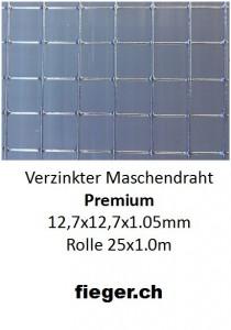 Premium Volierendraht 12,7x12,7x1,05mm  (1,02m x 25m)