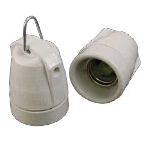 Porzellan Einbaufassung E27 mit Aufhängung