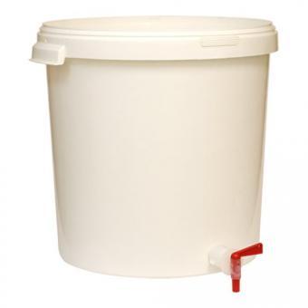 Gäreimer 30 Liter weiss mit Ablasshahn & Deckel