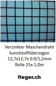 Volierendraht 12,7x12,7x1,20/0,90mm schwarz 1x25m