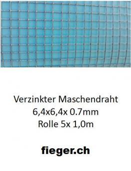 Volierendraht 6,4x6,4x0,70mm  (1,0m x 5m)